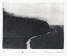Waipio Valley original etching of Big Island of Hawai'i