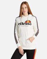 FELPA DONNA ELLESSE CON CAPPUCCIO EHW215W19 002 HOODIE LOGO BIANCO WHITE BANDA
