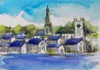 Martha's Vineyard Edgartown Harbor Old Whaling Church Original Painting Signed