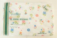 Vintage Wamsutta Superlin Floral Pattern Sheet Standard Twin Fitted Retro Muslin