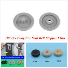 100 Pcs Gray Plastic Car Safety Seat Belt Stopper Buckle Button Fastener Clips