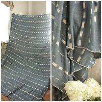 Antique Ikat fabric French flamme 18th century indigo  BLUE  panel drape LARGE