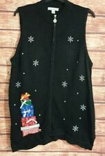 VTG Christmas Jumper/Cardigan/Waistcoat RARE Size UK-20 Black SPARKLY Zip Funnel