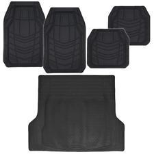 Rubber Floor Mats for Car All Season Weather W/ Black Cargo Trunk Floor Mat