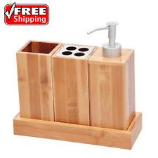 3-Piece Bathroom Accessory Set Natural Bamboo Bath Caddy Countertop Organizer