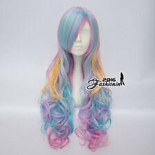 Multicolor Light Blue/Purple/Yellow Long Women Curly Anime Cosplay Wigs+Cap AU