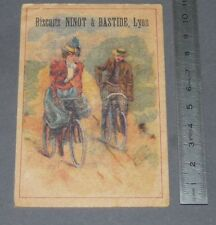 CHROMO 1890-1910 BISCUITS NINOT & BASTIDE LYON PROMENADE A VELO