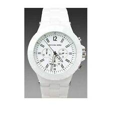 NEW-MICHAEL KORS DYLAN WHITE CERAMIC,CHRONOGRAPH WATCH MK8177