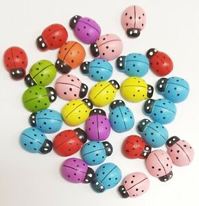 18x15mm Mix Self Adhesive Wooden Ladybird Ladybugs Craft Card Wood Toppers 30Pcs