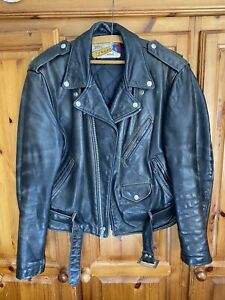 Vintage 1990s Schott Perfecto Model 618 Leather Motorcycle Jacket Size 42