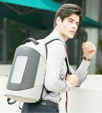 Grey Solar Panel Backpack Travel Laptop Bag USB Charger School Bussiness