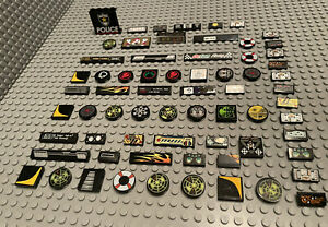 LEGO Lot Of 64x Black Printed Tiles / Stickers / Flat Plate /  Buttons / Sign