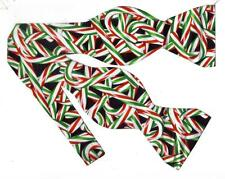 (1) BOW TIE- PEPPERMINT TWIST-RED & GREEN CHRISTMAS CANDY CANES TOSSED ON BLACK