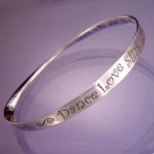 Dance Love Bracelet Bangle Inspirational Message STERLING SILVER Live Sing Watch