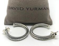 DAVID YURMAN 31mm Medium Crossover Hoop Earrings with Diamonds Sterling Silver
