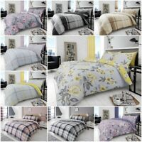 4Pc Reversible Duvet Cover with Pillowcase and Fitted Sheet Bedding Set All Size