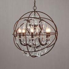 Industrial 6 Lights Clear Crystal Sphere Chandelier Rust Metal Orb Pendant Light