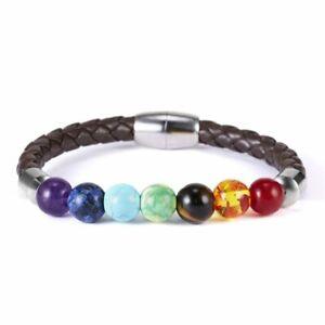 7 Chakra Healing Balance Beaded Magnetic Bracelet Lava Yoga Reiki Stone Jewelery