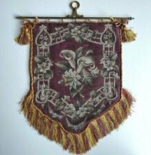Antique mid-1800s Victorian Beadwork Needlepoint Fire Screen, Bracket and Fringe
