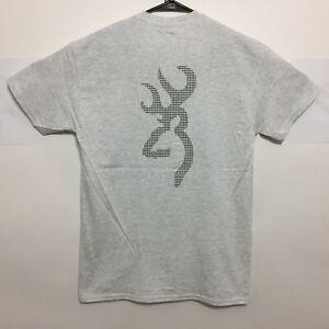 Browning Buckmark T-Shirt Houndstooth Logo Tee Color Light Grey - NWT