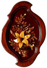 Lily Flower Baltic Amber Framed Picture Carved 3D Mosaic Bouquet Rare Wall Art
