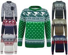 Men Knitted Fairisle Ski Christmas Xmas Novelty Jumper Pullover Sweater S M L XL