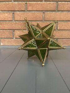 Hanging Star, Gold/Green Stain-glass Tee-light, Urbino style 3-D Green Lantern