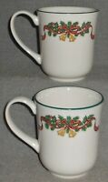 Set (2) Johnson Brothers VICTORIAN CHRISTMAS PATTERN 10 oz Handled Mugs ENGLAND