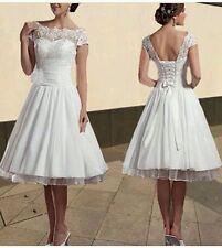 Vintage Knee Length White/Ivory Lace Wedding Dress Size 6-18 UK