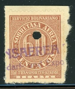Colombia SCADTA Selections: Scott #C75 60c Red Brown PUNCH CANCEL (1929) $$$