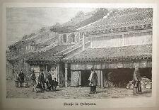 YOKOHAMA, JAPAN . Originaler Holzstich 1895