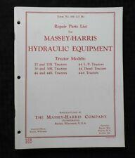 "MASSEY HARRIS 22 30 44 22K 30K 44K TRACTOR ""HYDRAULIC EQUIPMENT"" PARTS MANUAL"