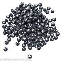 500 Mix Acryl Buchstaben Spacer Perlen Beads Rundflach Schwarz 7mm