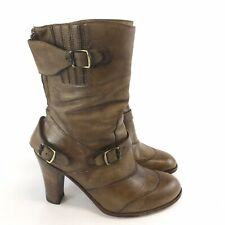 Belstaff Urban Master Brown Leather Ankle Zip Buckle Cowboy Festival Boots UK4