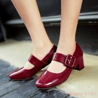 Women Block Heel Mary Jane Patent Leather Pump Toe Ankle Strap Shoes Buckle 2019