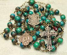 Archangel St.Raphael Green Azurite Chrysocolla Gemstone Vintage Bronze Rosary HM