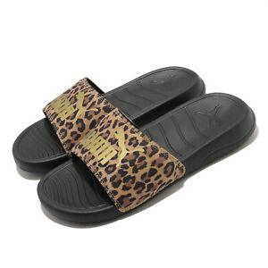 Puma Popcat 20 Wns Leo Leopard Black Gold Women Sandals Slides Slipper 374467-01
