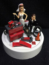 Brown/ Brunette Car AUTO MECHANIC Wedding Cake Topper Bride Groom top tool Key