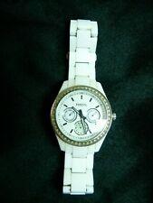 Fossil Women's Multifunction White Jeweled Dial & Resin Band Watch ES1967