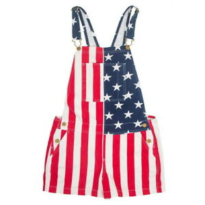 American Flag Overalls Denim Bib Shorts for Men Women Unisex Denim Stretch Short
