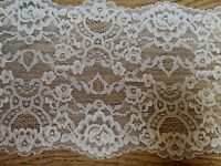 "*New* 7""/18cm Stunning Bright White Stretch Galloon Lace Trim. Sewing/Lingerie"
