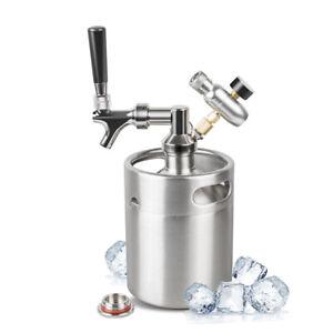 NEW 2L Stainless Steel Beer Keg Portable Keg Dispenser Kit For Home Brew Beer
