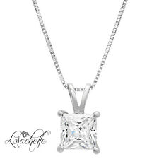 "2.0 ct  Princess Cut Solitaire 14K White Gold Pendant Necklace +16"" Chain"