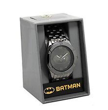 BATMAN DC COMICS Official Tonal Black BAT SIGNAL Metal Band WATCH w/ Gift Box