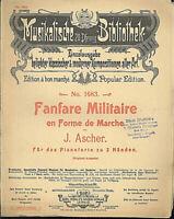 J. Ascher, Fanfare Militaire en Forme de Marche,  übergroße, alte Noten