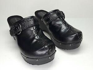 Fashion Bug Black Buckle Studs Slip On Clogs Shoes Sz 9.5 Women EUC