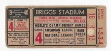 1940 World Series baseball ticket Detroit Tigers Cincinnati Reds, Game 4