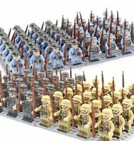 24pcs Military Soldiers France US Britain Army + Weapon Mini figures Toys USA