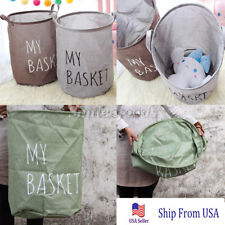 Folding Dirty Clothes Toy Canvas Laundry Hamper Basket Storage Bag Holder Rack