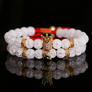 2PCS King Queen Crown White Popcorn Crystal Stone Couple Bracelets Men Women Set